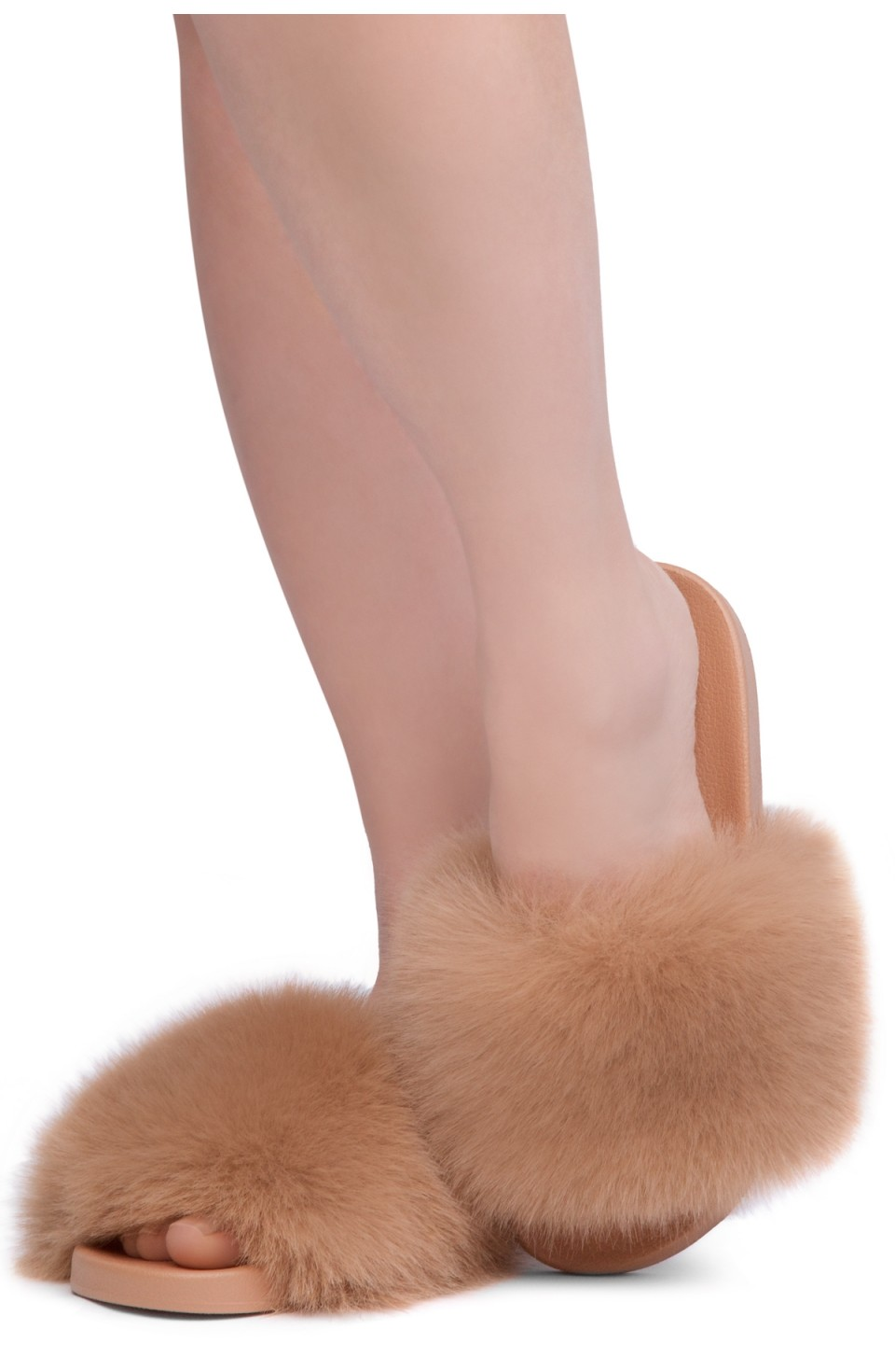 Shoe Land NIKINI Womens Fur Slides Fuzzy Slippers Fashion Fluffy Comfort Flat Sandals(2020 Camel/Camel)