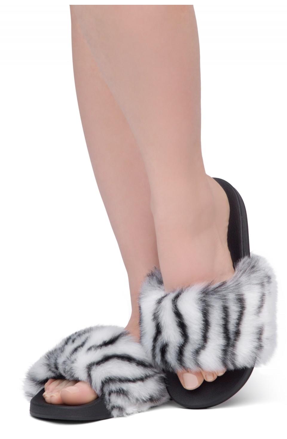 Shoe Land NIKINI Womens Fur Slides Fuzzy Slippers Fashion Fluffy Comfort Flat Sandals(2020 Zebra/Black)