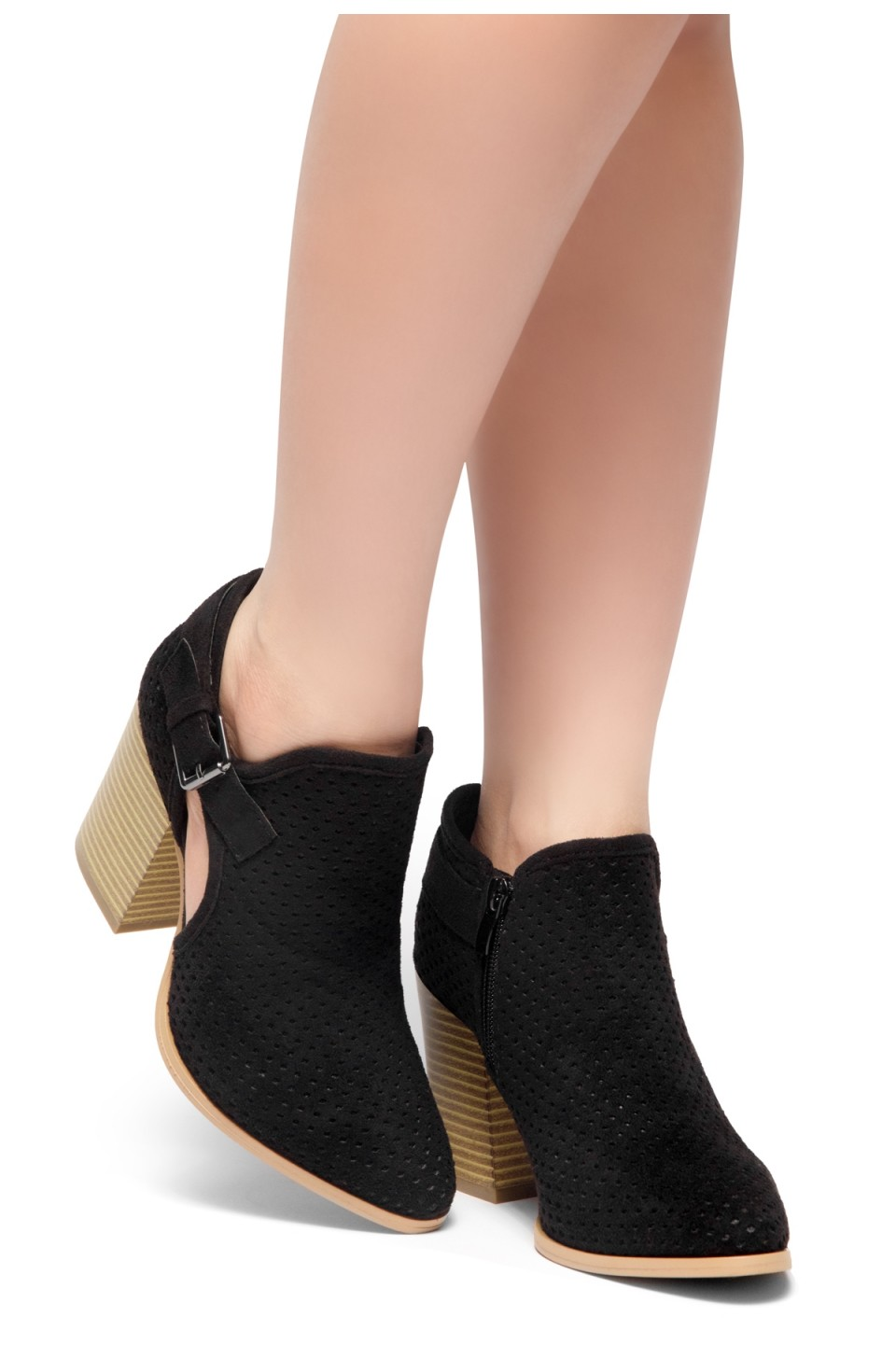 HerStyle NOMAD-Stacked Heel Almond Toe Booties (Black)