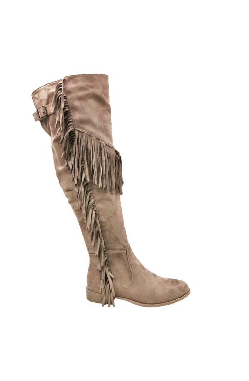 Women's Taupe Oksana-65 Knee-High Boot with Fringed Sides