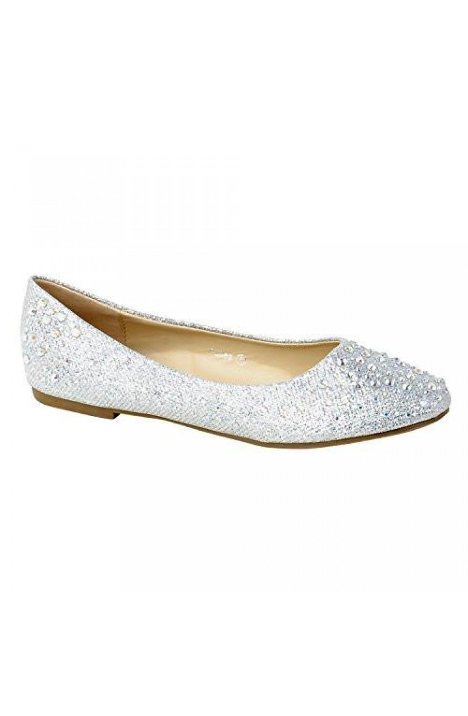 Women's Silver Manmade Pallas Studded Pump Flat with Glittering Beads