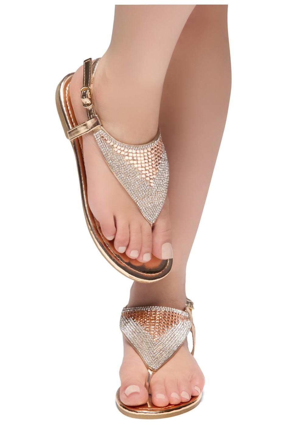 HerStyle PERFECT DAY-Open Toe Rhinestone Thong Flat Sandal (RoseGold)