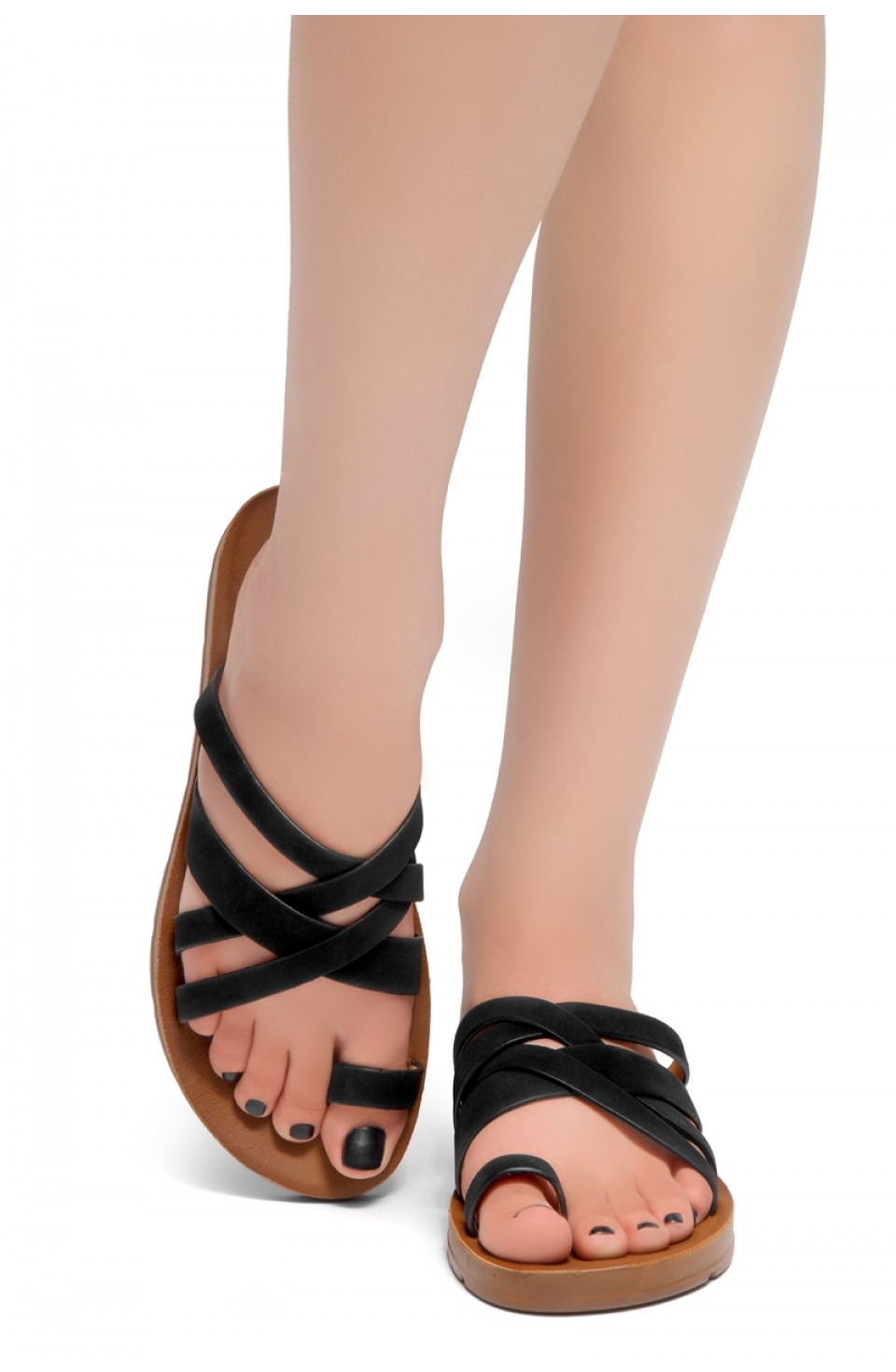 HerStyle Possible-Toe Ring with Unique Crisscross Straps Slide Sandals (Black)