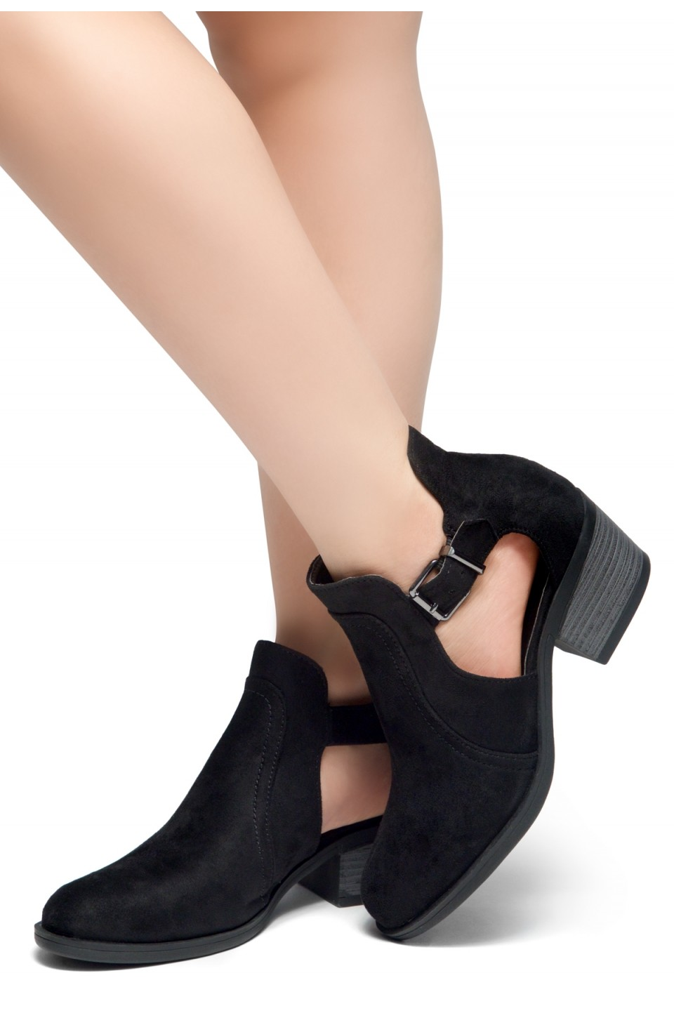 HerStyle Prisila-Stacked Heel Almond Toe Booties (Black)
