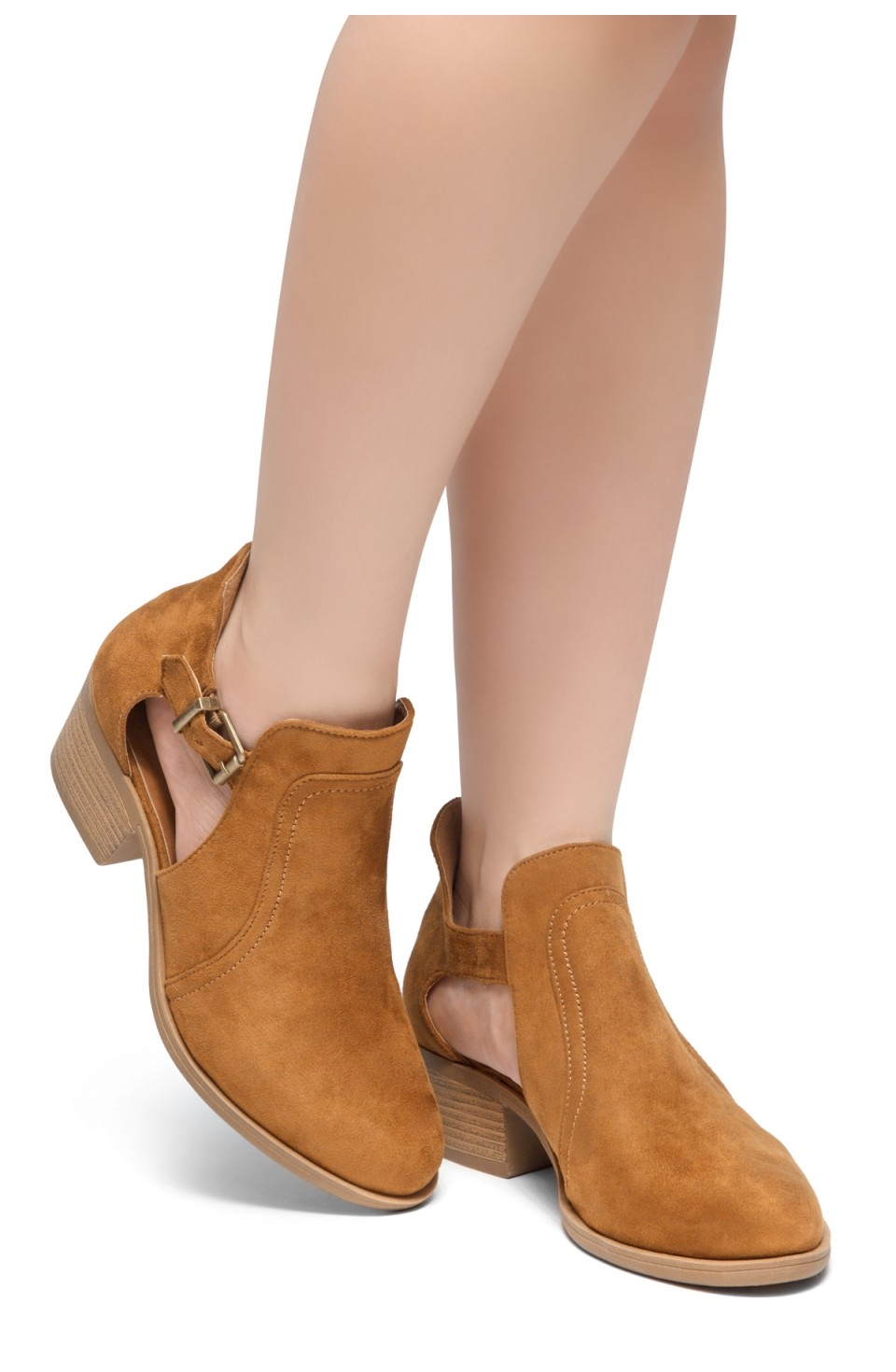 HerStyle Prisila-Stacked Heel Almond Toe Booties (Cognac)
