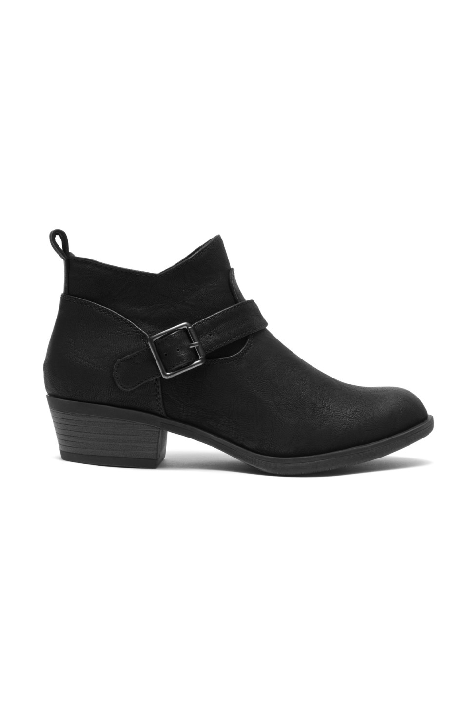 Women's Black Raavver Basel Boot Fashionable Stacked Heels, Buckle strapped. Western Ankle Boot Cowgirl Low Heel Closed Toe Casual Bootie, Comfortable Walking Slip on