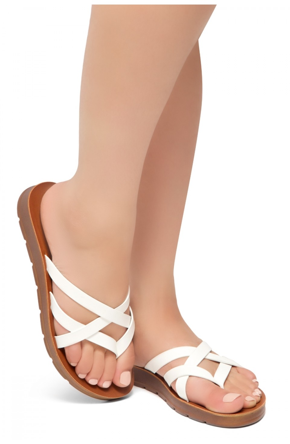HerStyle Radiate- Unique Crisscross Straps Slide Sandals (White)