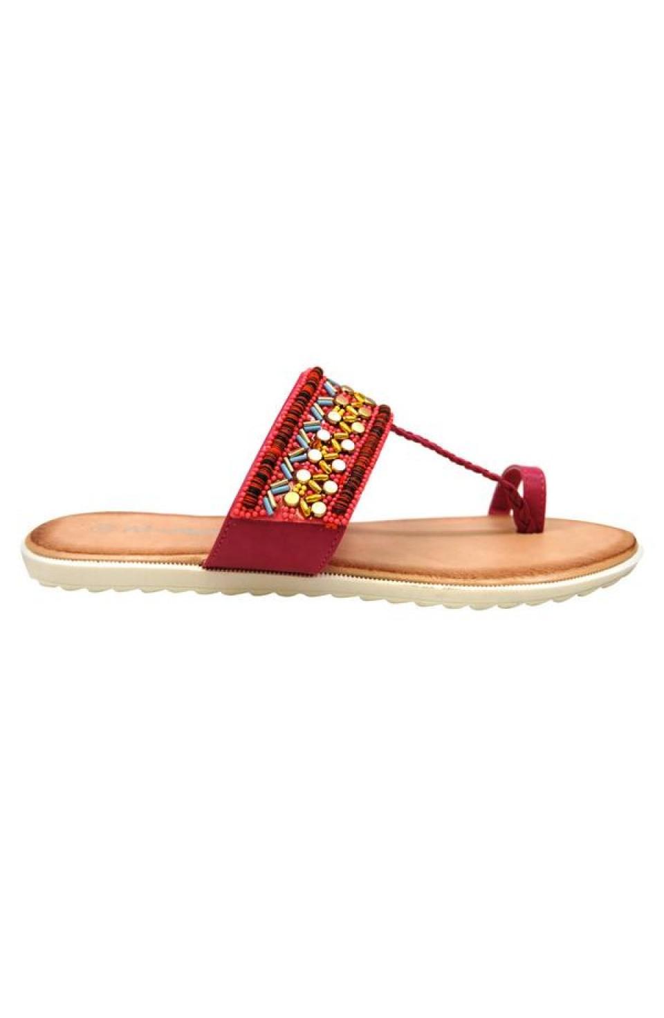 Women's Fuchsia Manmade Roebella Toe Ring Sandal with Gorgeous Beaded Strap
