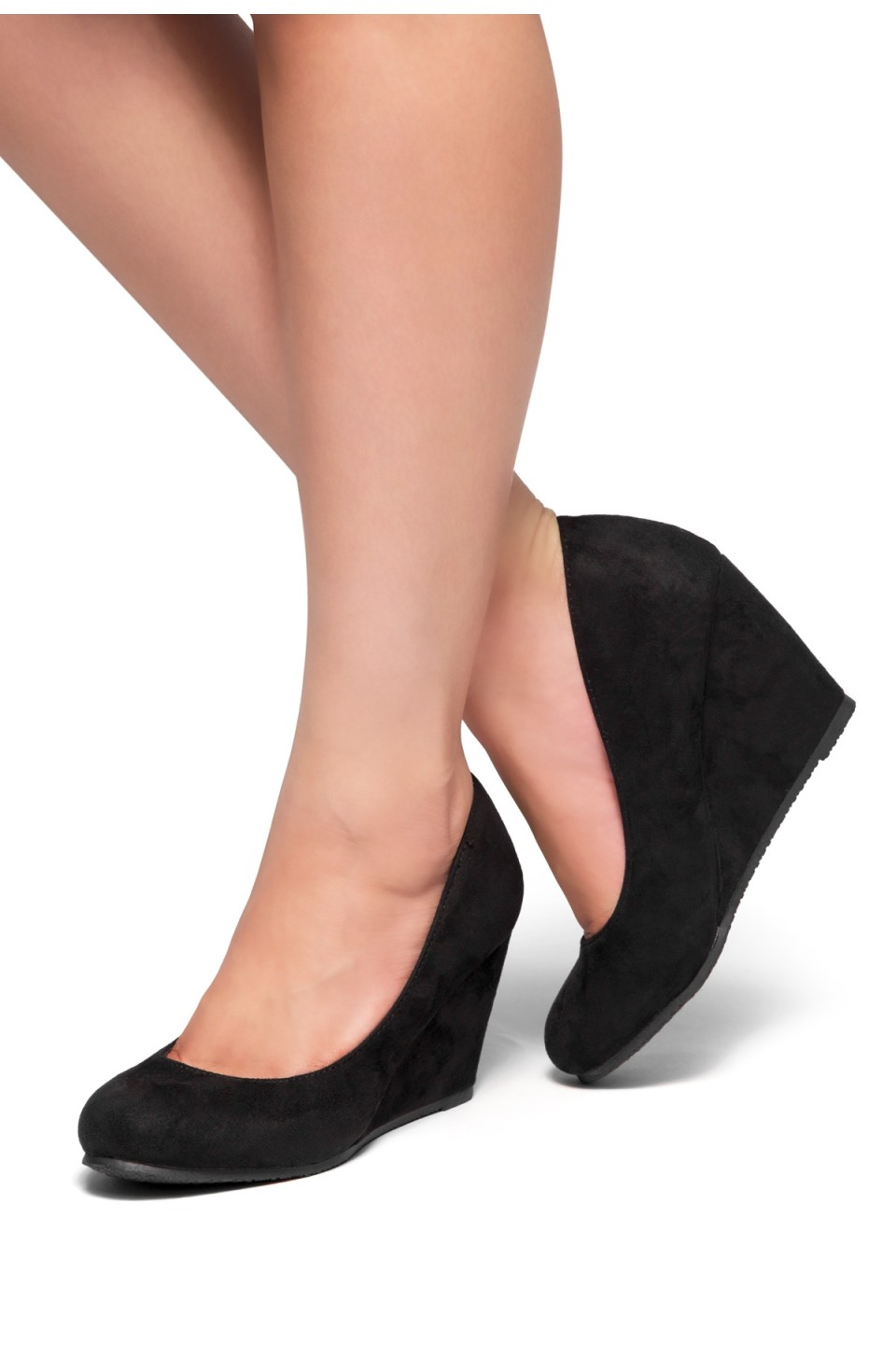 HerStyle Romy-Wedge heel, Round toe (Black)