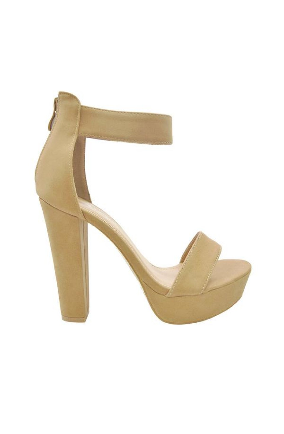 Women's Nude Manmade Rooola 4-inch Heeled Sandal with Sueded Upper
