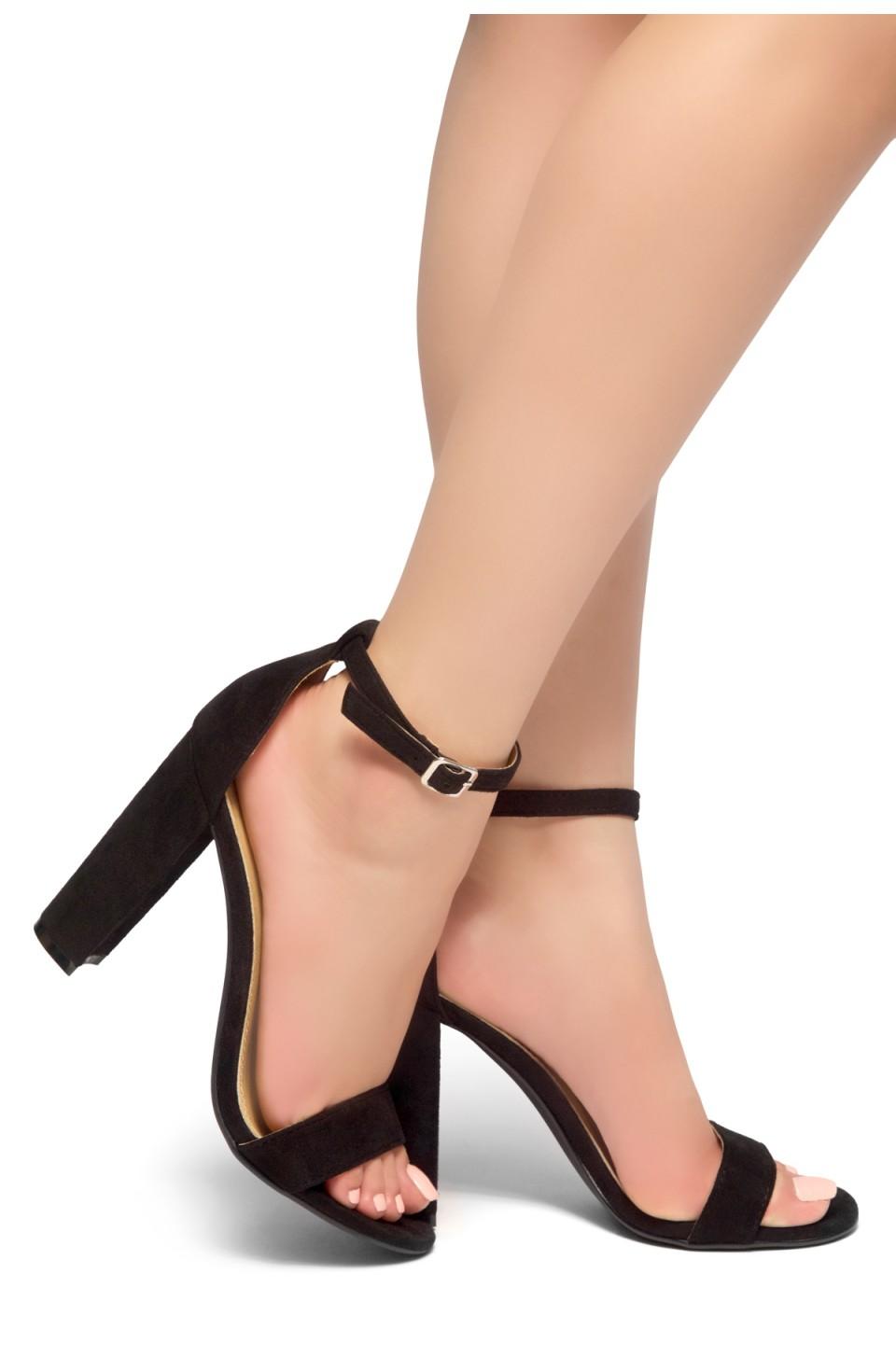 HerStyle Rosemmina Open Toe Ankle Strap Chunky Heel (Black)