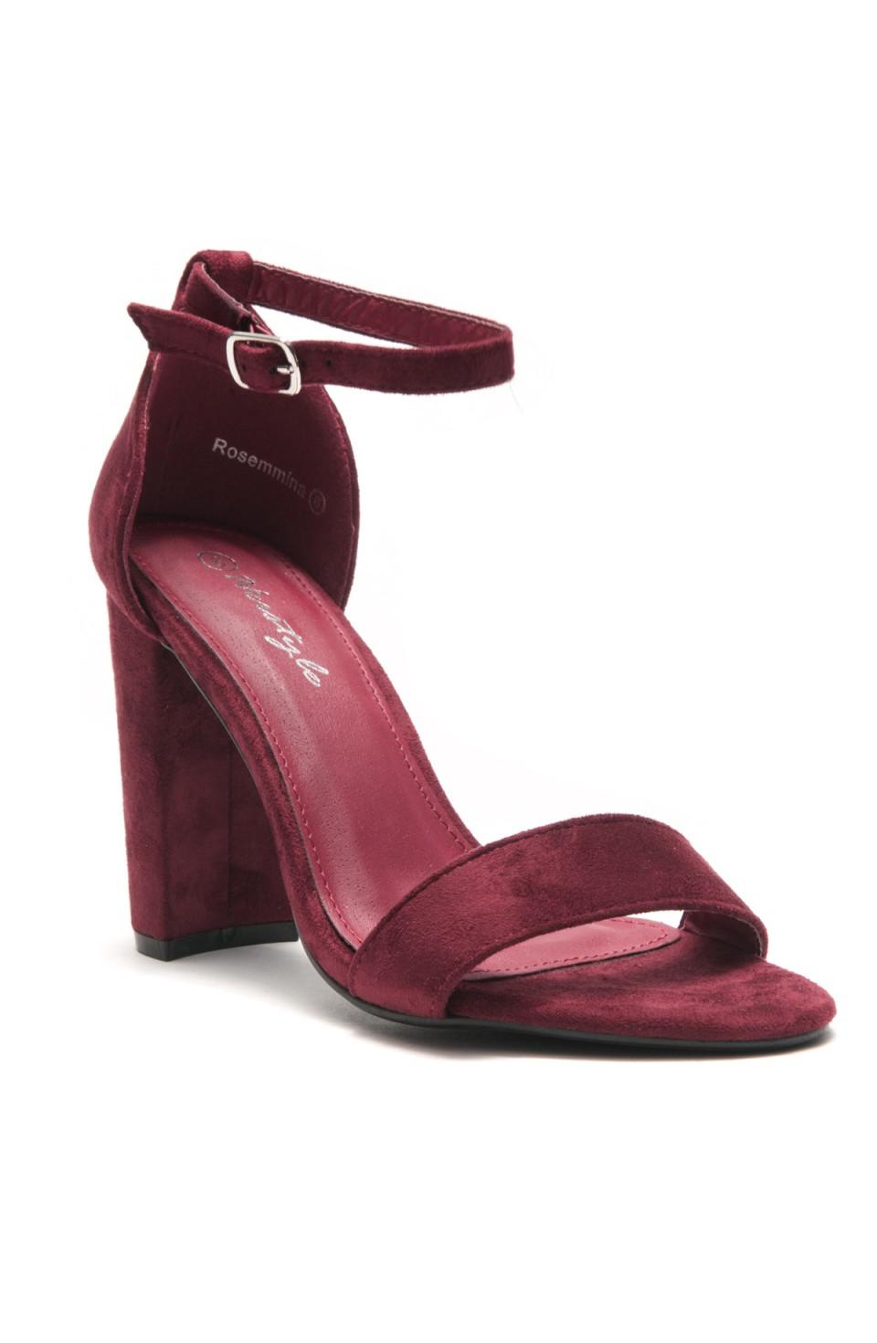 HerStyle Rosemmina Open Toe Ankle Strap Chunky Heel (Burgundy)