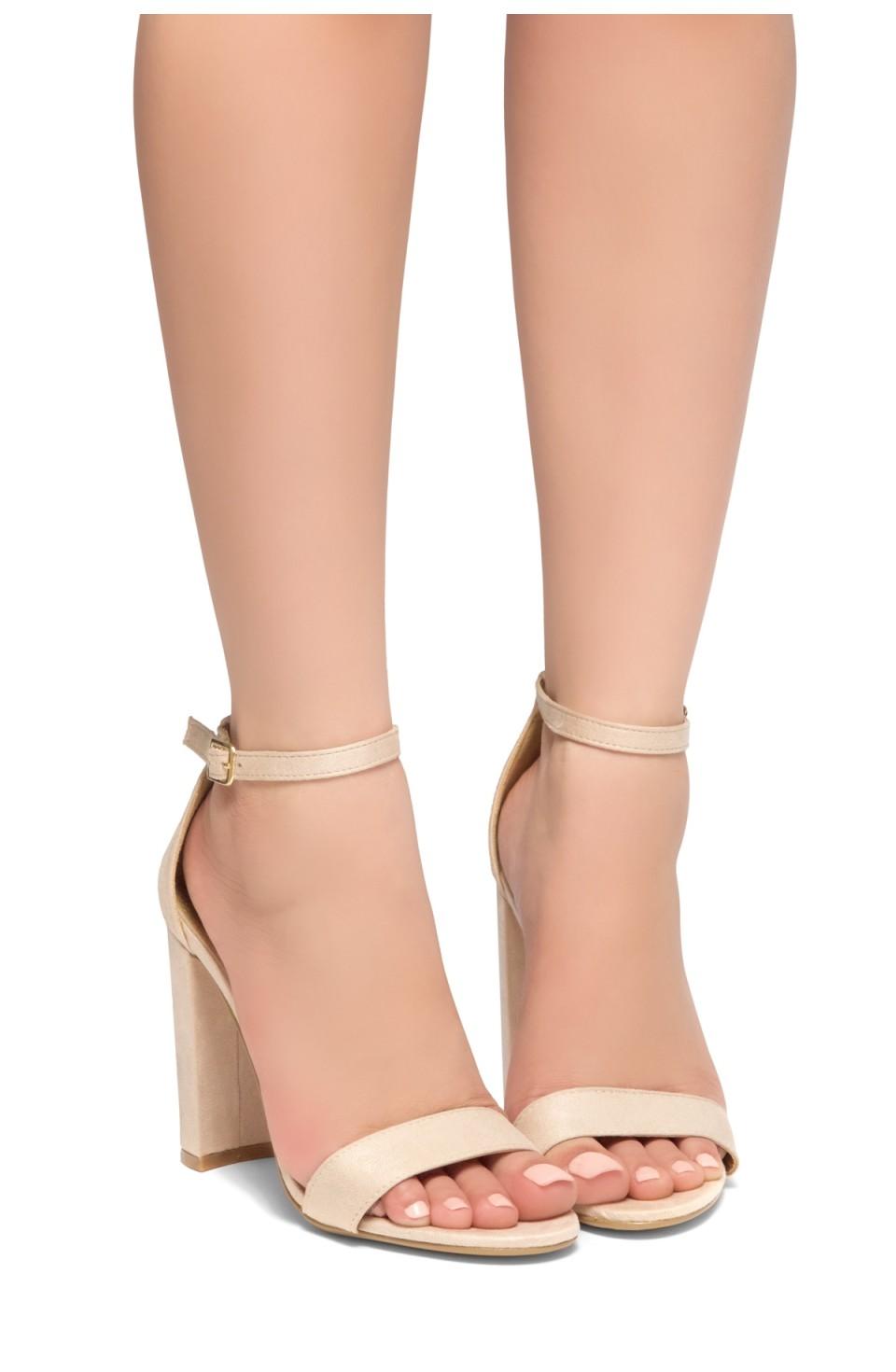 HerStyle Rosemmina Open Toe Ankle Strap Chunky Heel (Nude)