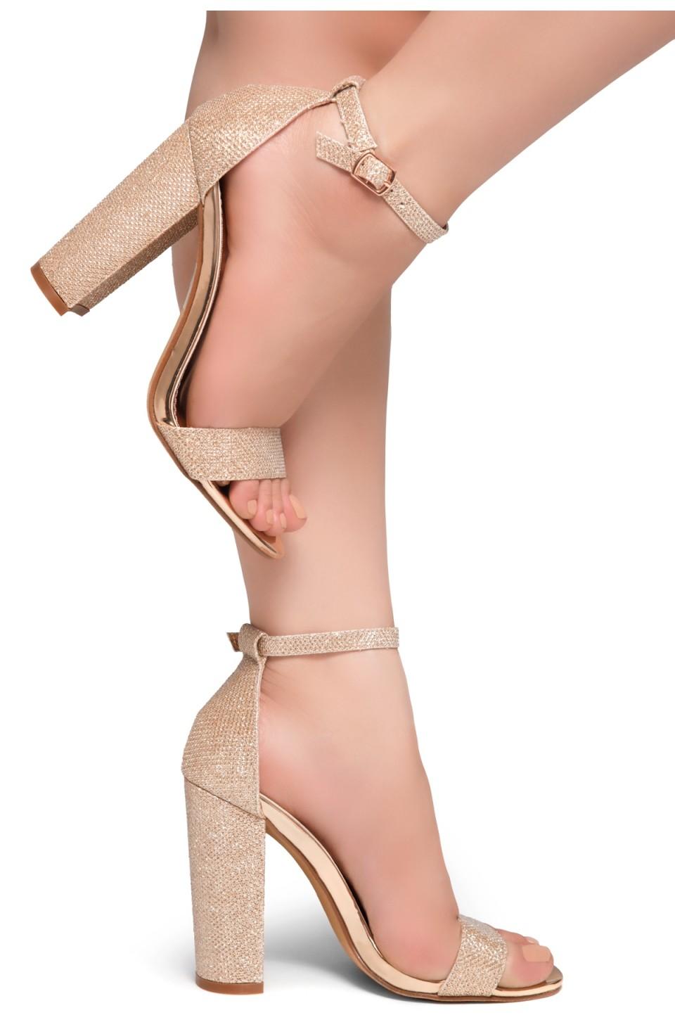 HerStyle Rosemmina Open Toe Ankle Strap Chunky Heel (RoseGold Shimmer)