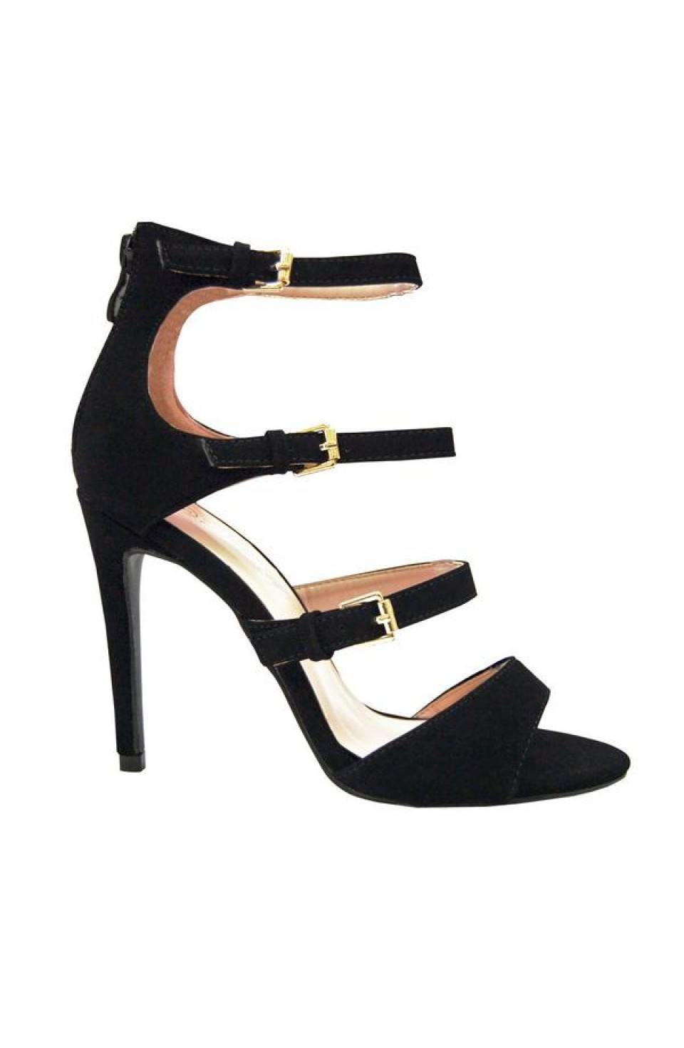 Women's Black Sgiselle 4-inch Heeled Sandal with Triple Buckle Strap