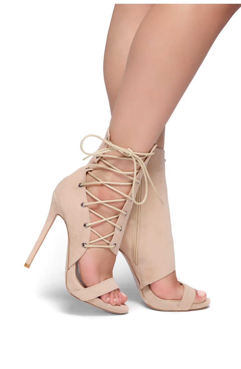 HerStyle Sheri Stiletto heel, side lace-up (Nude)