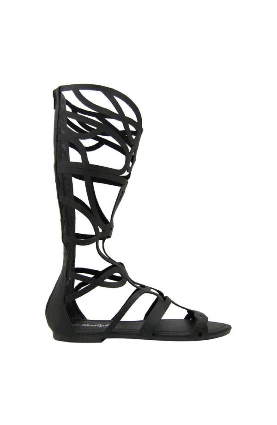 Women's Black Manmade Skravee Tall Gladiator Sandal with Curvy Straps