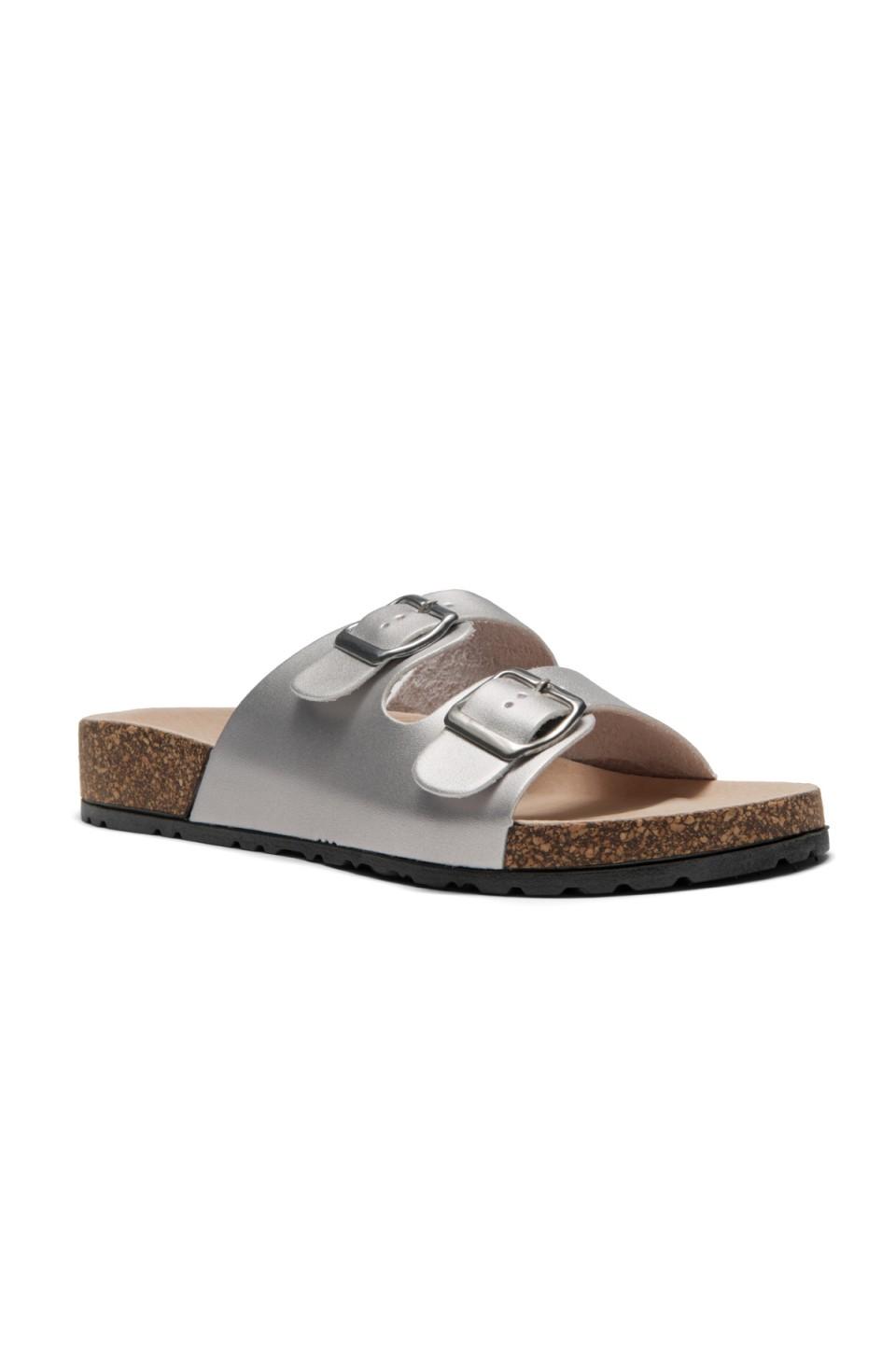 HerStyle SL-110115 Open Toe Buckled Cork Slide Sandal (Silver)