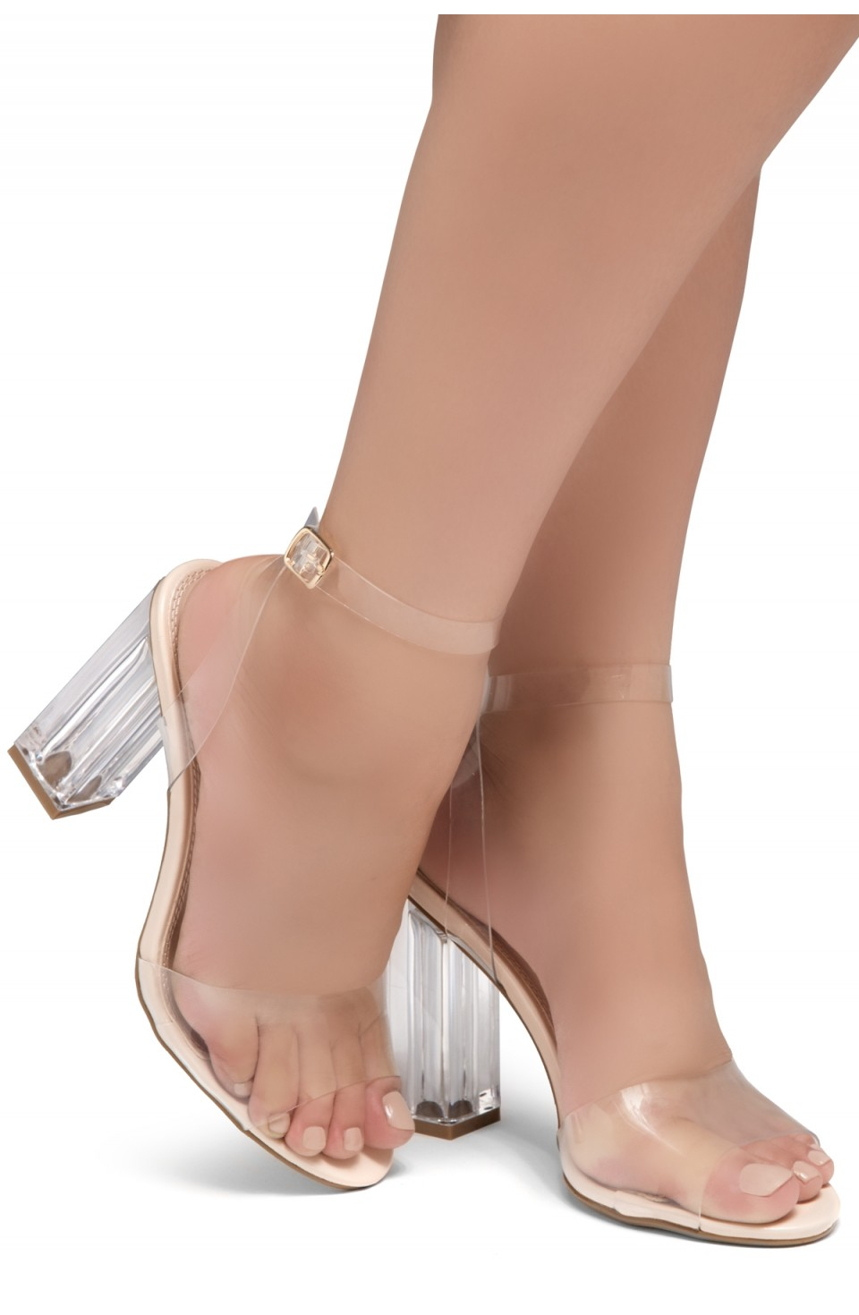 Shoe Land SL-Cllaary Perspex heel, ankle strap with an adjustable buckle (1910/ClearNude)