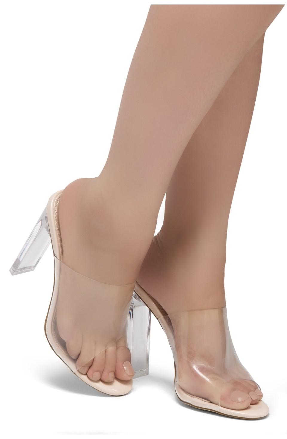 Shoe Land SL-Cllaary Perspex heel, Slide On Sandals(2020/ClearNude)