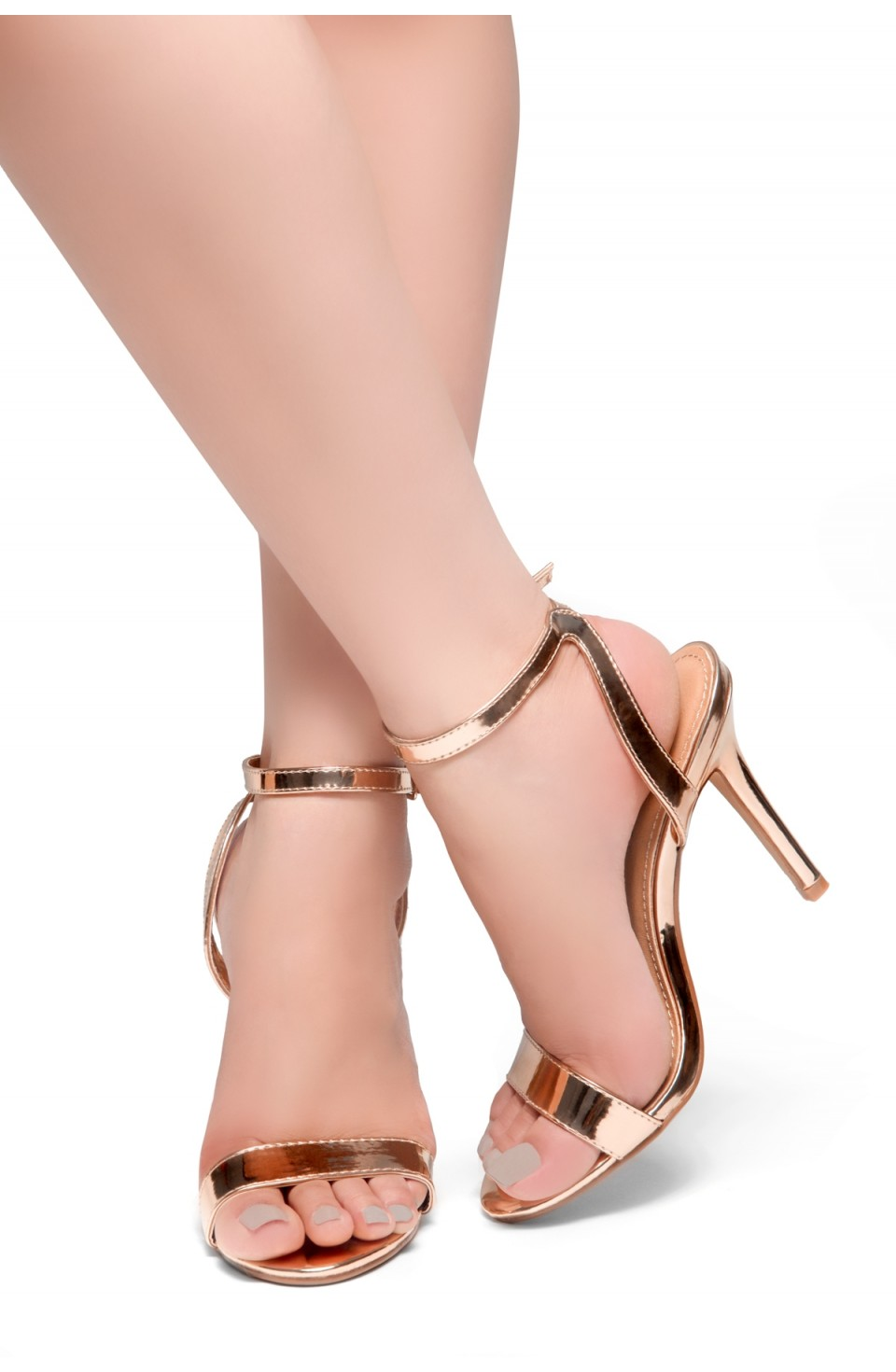 HerStyle Slay All Day-Open Toe Ankle Strap Stiletto Heel (RoseGold)