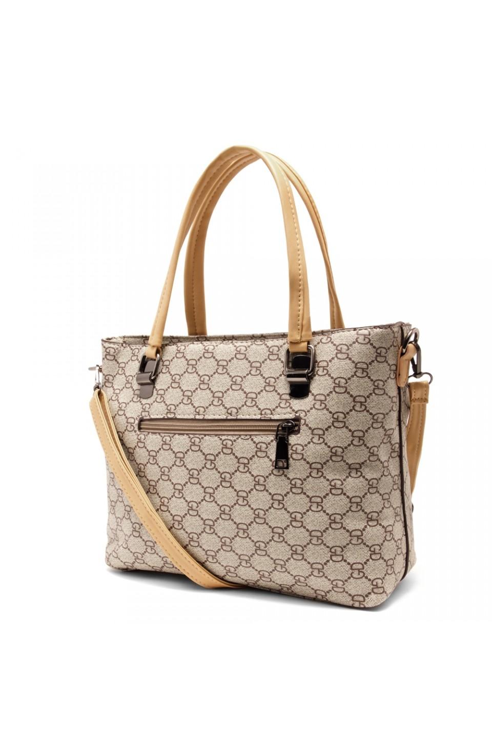 SLD-BELLE- Roomy Tonal Pattern Casual Tote Bag (Beige)