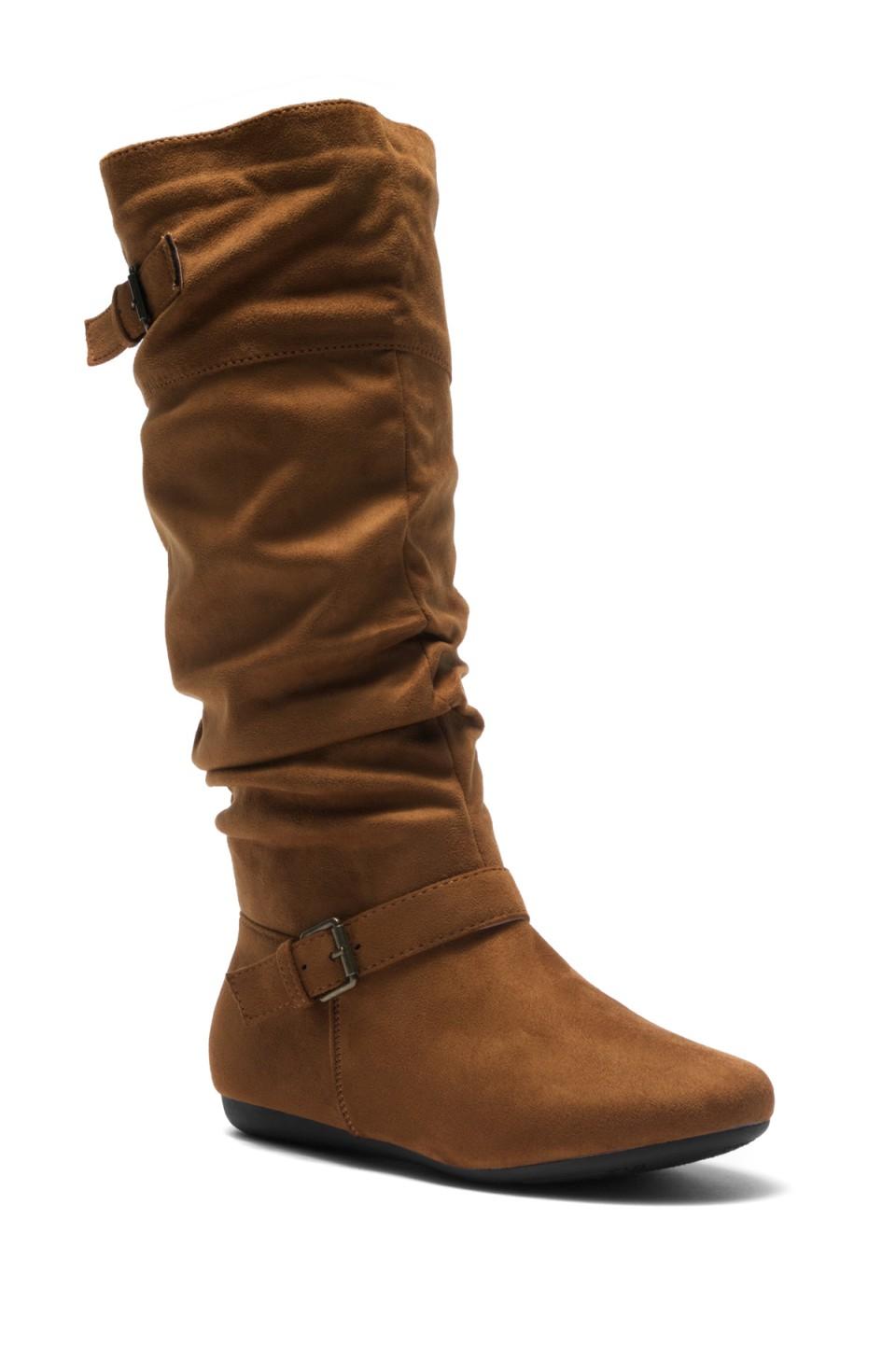Women's Cognac Slollie Faux Suede Calf Length Slouchy Buckled Up Boots