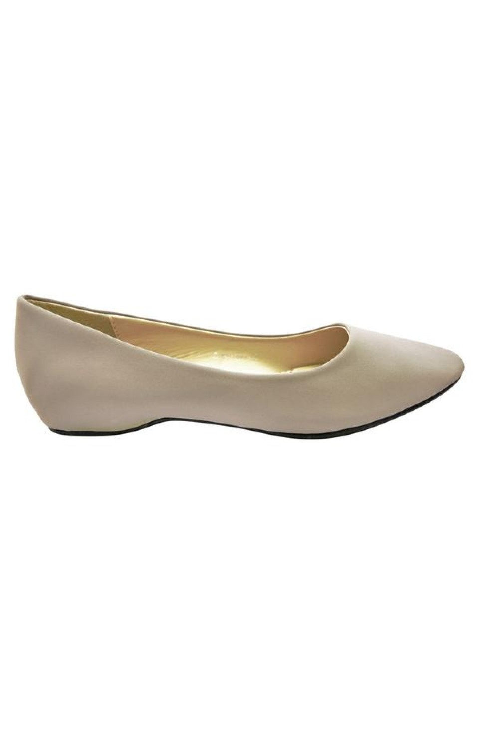 Women's Grey Manmade Smarrillee Smooth Pump Flat with Gently Pointed Toe