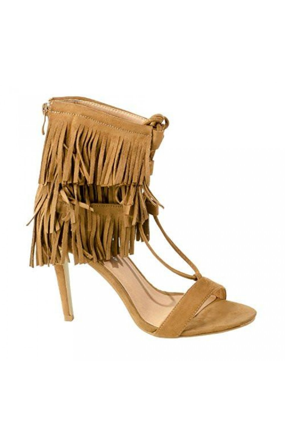 Women's Cognac Manmade Sophiiee 4.5-inch Sandal with Fringed Ankle Flair