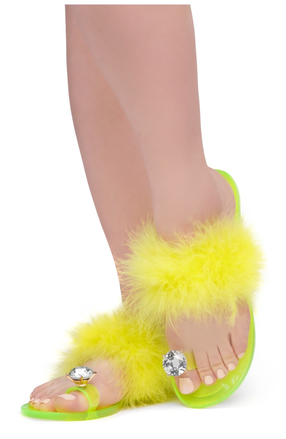Shoe Land SUMMER Women's Cute Toe Ring Fur Slides Slippers Fashion Comfort Flat Sandals(2000YellowFur)
