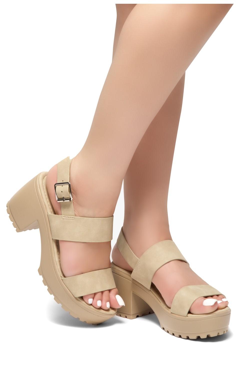 HerStyle Sundance-Open Toe Double-Banded Vamp with Platform Block Heel (Beige)