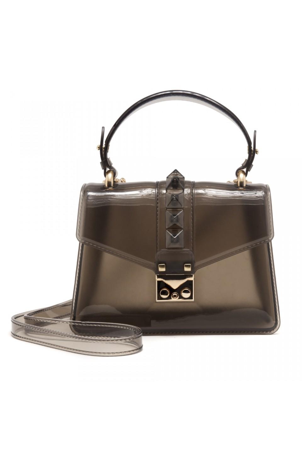 SZ17-LH2-16574 - Women's PVC Jelly Top Handle Bag (Black)