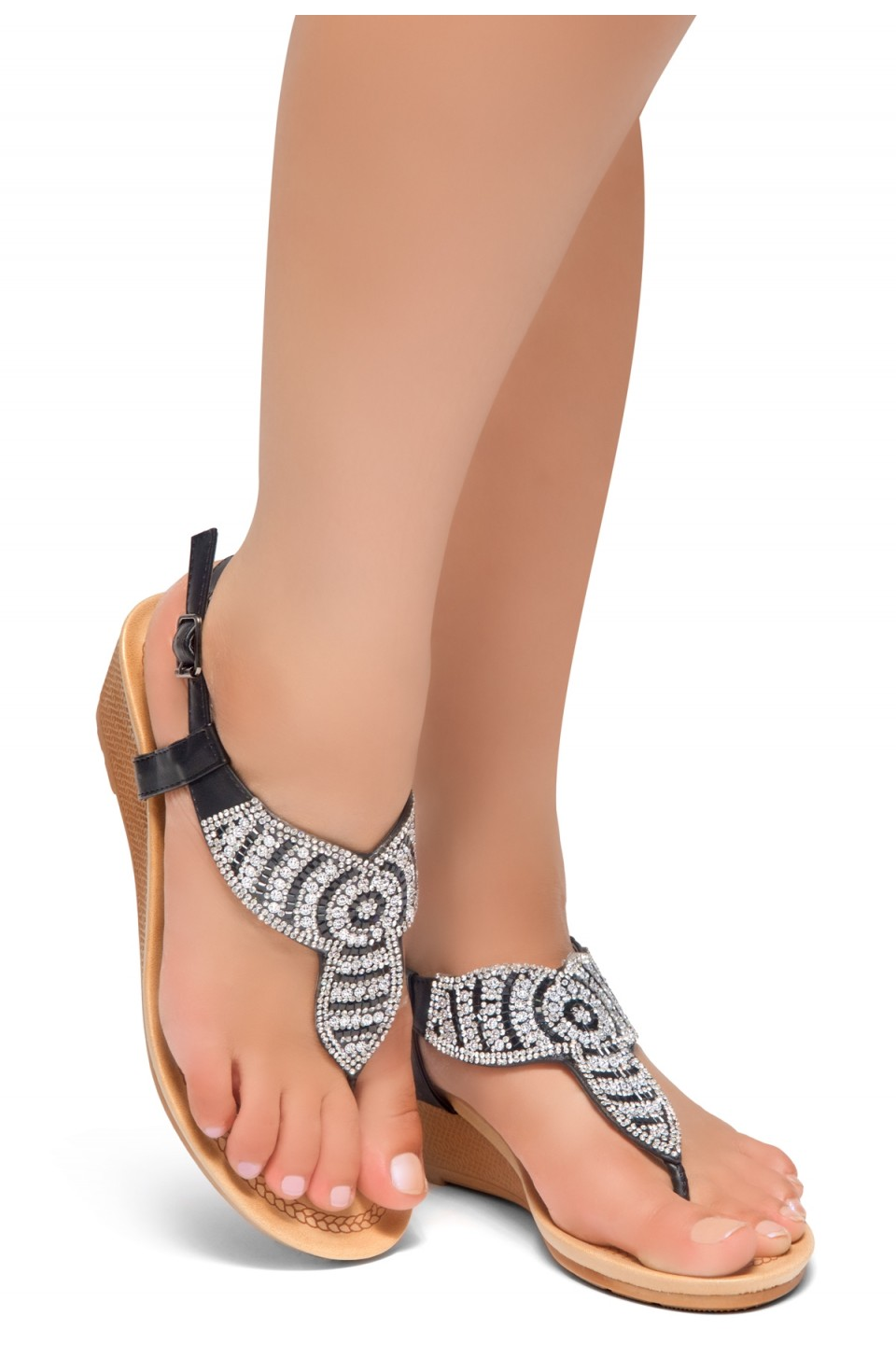 HerStyle Take Over- Rhinestone Details Vamp, Ankle Strap Open Toe Open Back Wedge Sandals (Black)