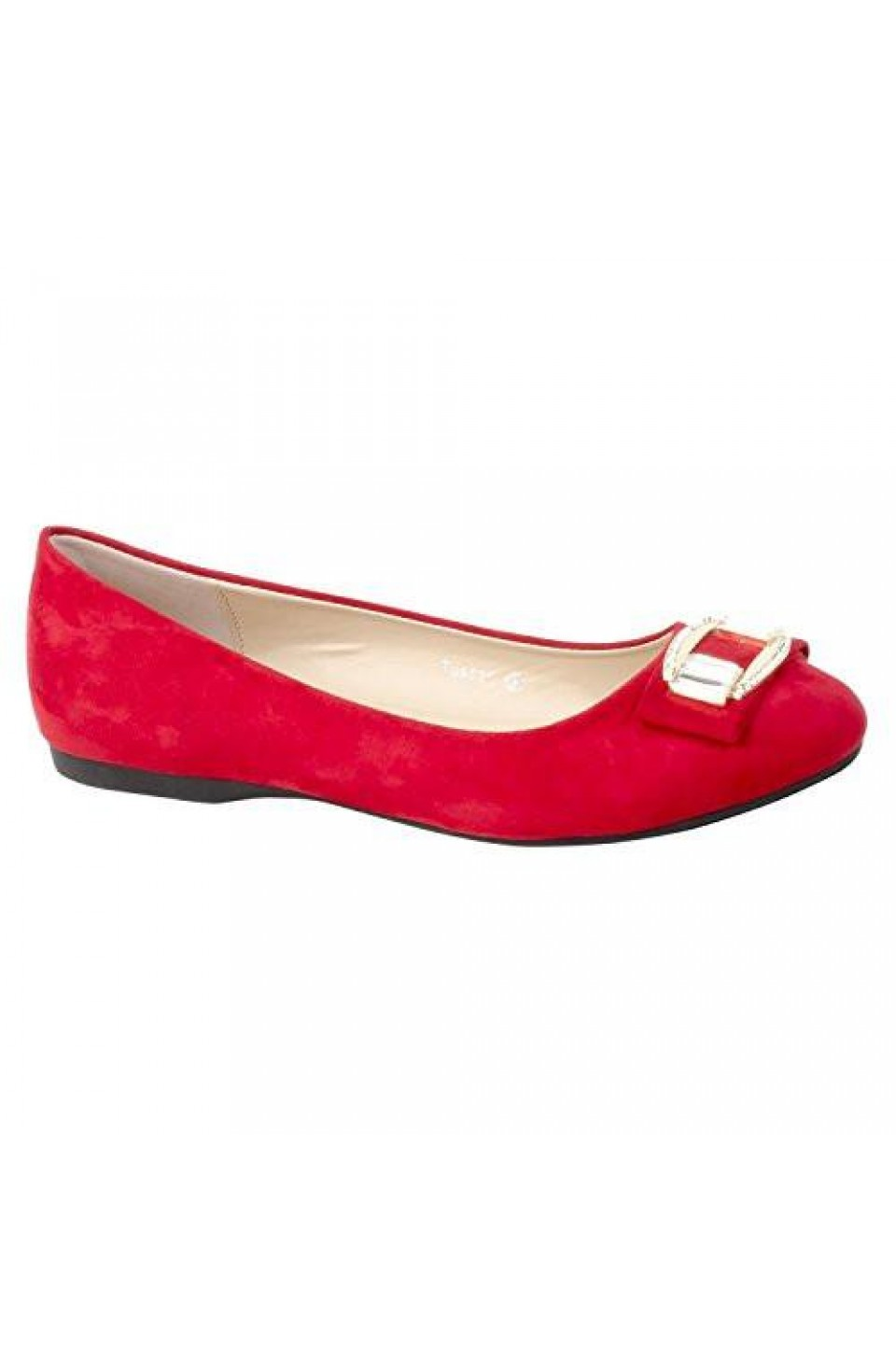 Women's Red Manmade Tuscan Pump Flat with Sparkling Toe Buckle