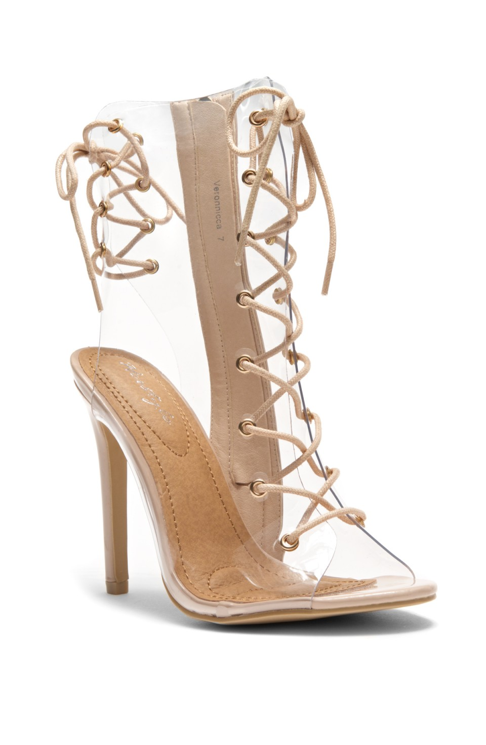 HerStyle Veronnicca Lace Up Perspex Peep Toe Stiletto Boots (Clear/Nude)