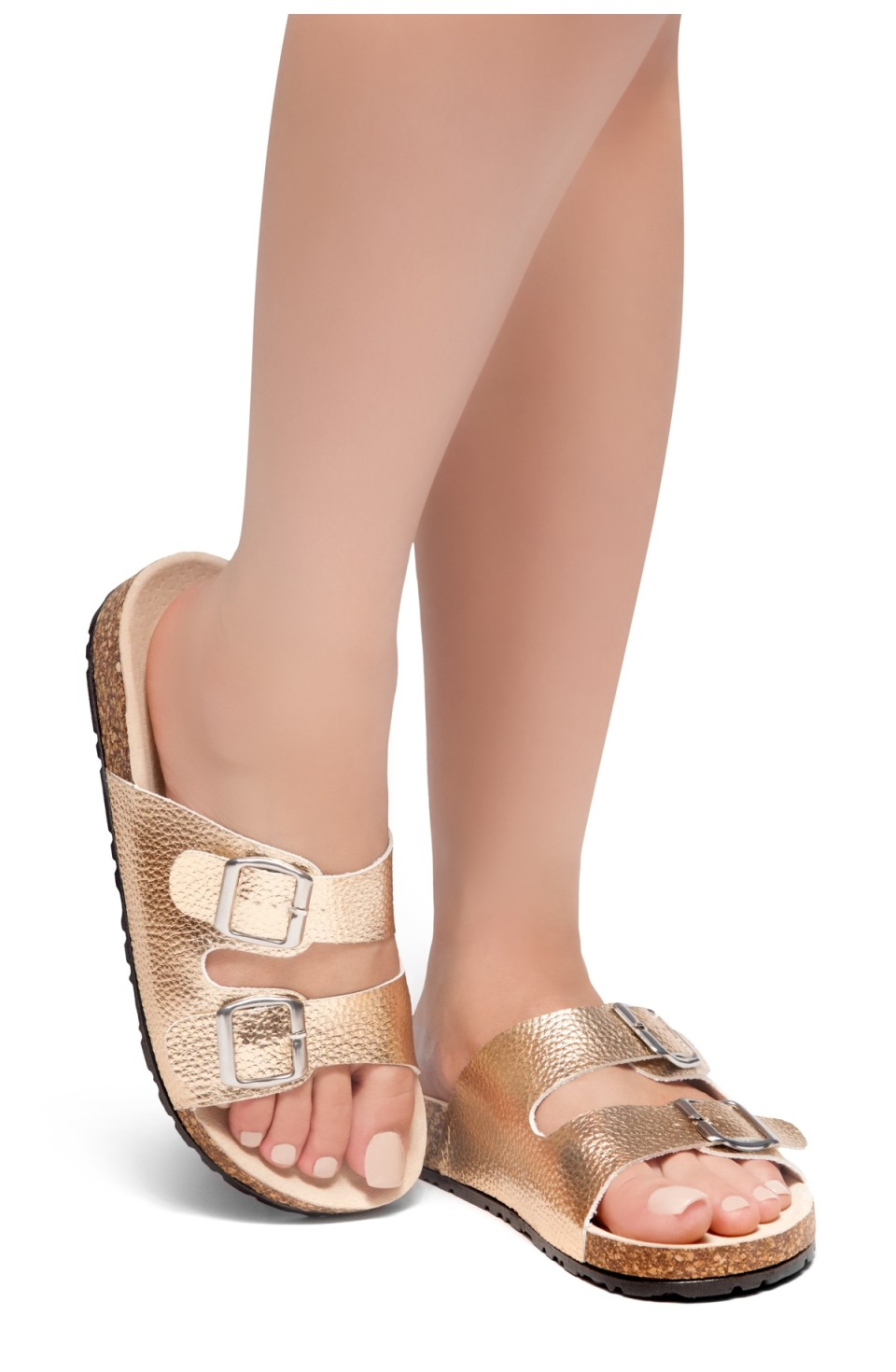HerStyle Viviana- Double Buckled Cork Foot Bed Sandal (RoseGold)
