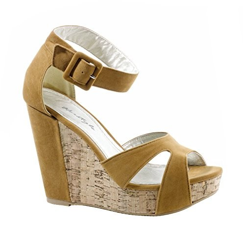e8573e48f2b Women s Tan Nadiya Manmade Wedge Sandal with Stylish Toe Straps