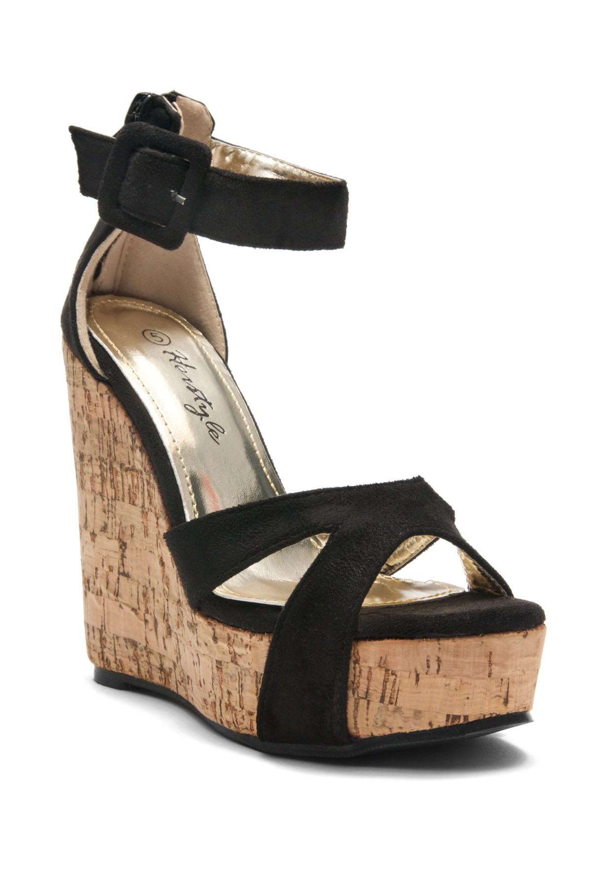 5e112435952 Women s Black Manmade Brenee 6-inch Cork Wedge Sandals with Bold Ankle  Buckle