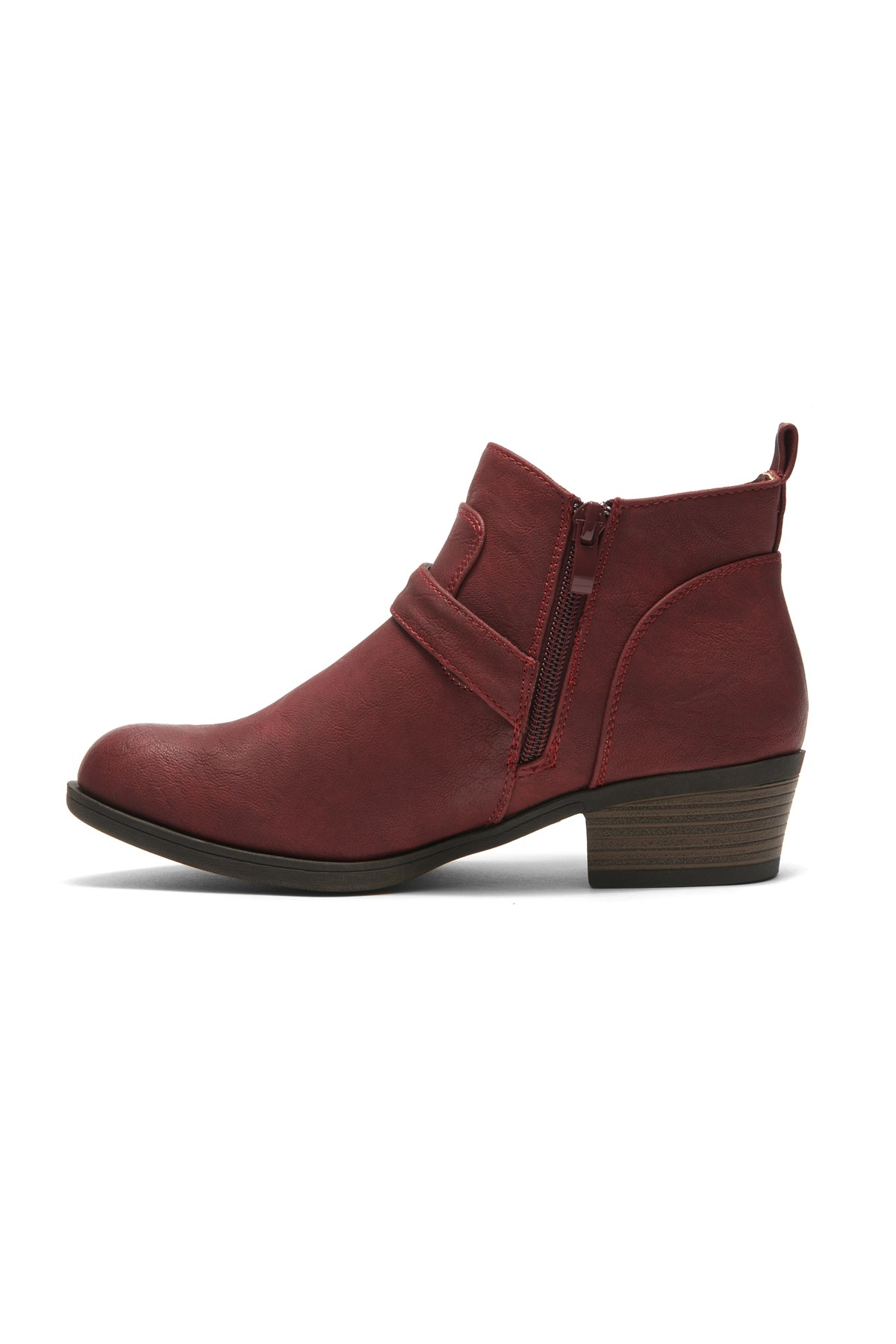 c33542ca3932a Women's Burgundy Raavver Basel Boot. Fashionable Stacked Heels, Buckle  strapped. Western Ankle Boot. Cowgirl Low Heel Closed Toe Casual Bootie, ...