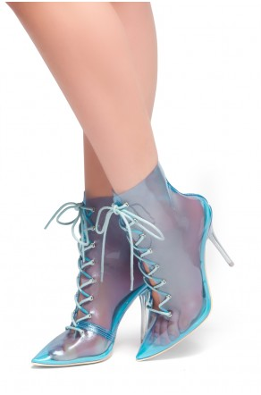 HerStyle June Blue- Pointed Toe Lace Up Clear Perspex Ankle Booties (Blue)