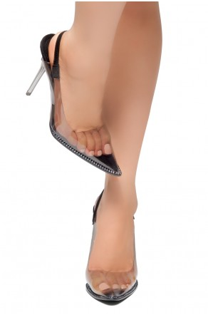 HerStyle Partral- Perspex Pointed Toe Open Back Clear Stiletto Heel Pumps (Black)
