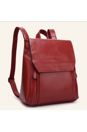 SZ9-16017- Women's Modern Style Classic Leather Backpack (Wine)