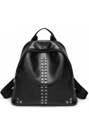 SZ14-LH2-16100- Women's Black Leather Backpack With Silver Metal Studs (Black)