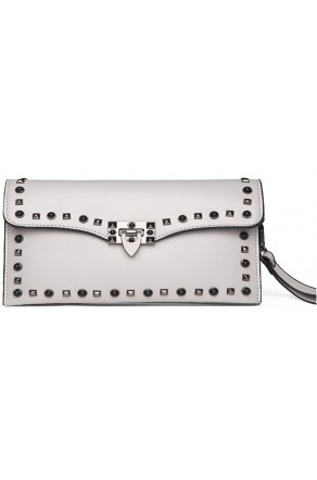SZ14-LH2-16357- Women's Funky White Clutch With Platinum Studs (Grey)