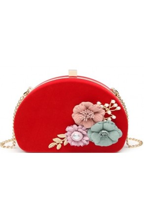 SZ14-LH2-16361- Women's Evening Bag Embellished With Metal Detail Flowers (Red)