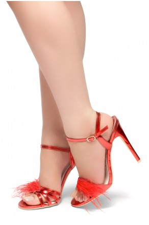 HerStyle ARCTIC- Strapy Vamp with Fluffy, Stiletto Heel (Red)