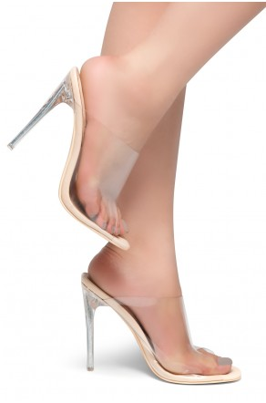 HerStyle LOVE ME - Open Toe Open Back Stiletto Heel, Perspex Vamp slipper (Nude)