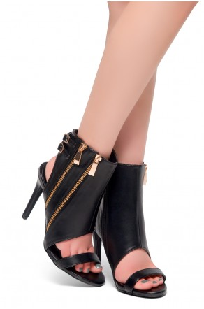 HerStyle Gasp-Double Zipper Double Buckled Details Open Back Stiletto Booties (Black)