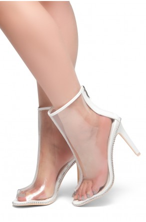 HerStyle Clancy- Peep Toe Clear Perspex Ankle Booties (White)