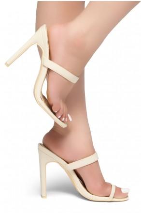 HerStyle Sasseta- Toe Ring Sandal with simple single vamp Strap, open toe, flat Stiletto Heel (Beige)